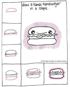 learn to draw a kawaii hamburger in a few simple steps