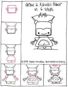draw a cute kawaii robot step by step kawaii drawings easy drawings doodle drawings