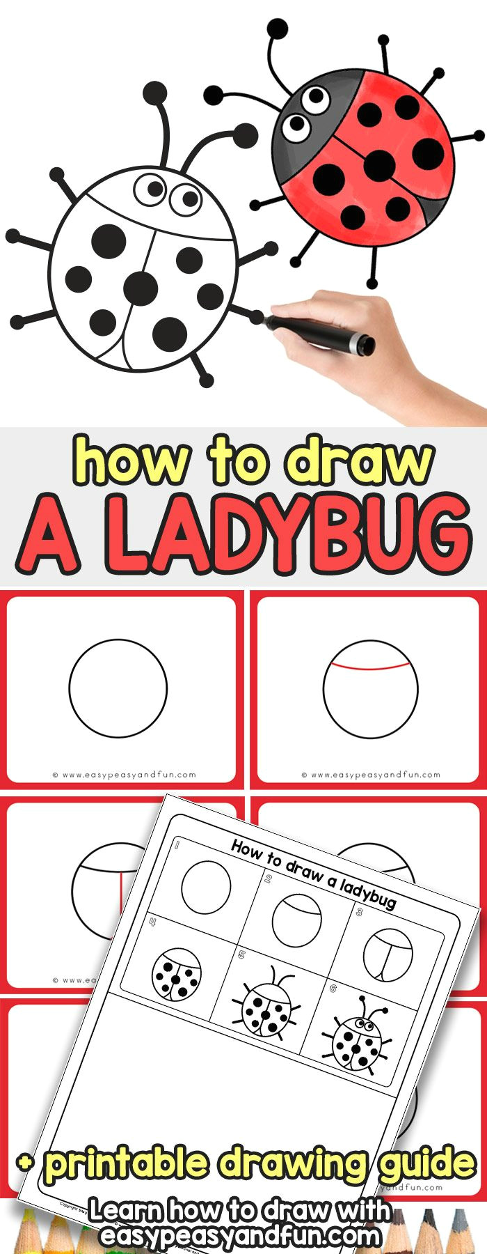 learn how to draw a ladybug simple step by step tutorial for kids
