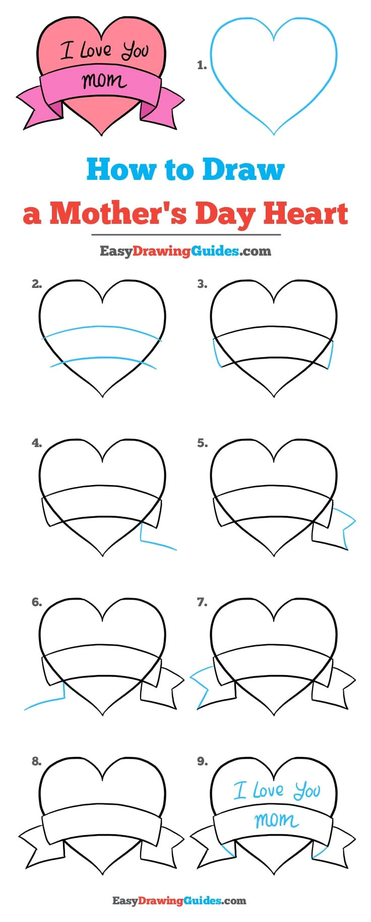 learn how to draw a mother s day heart easy step by step drawing