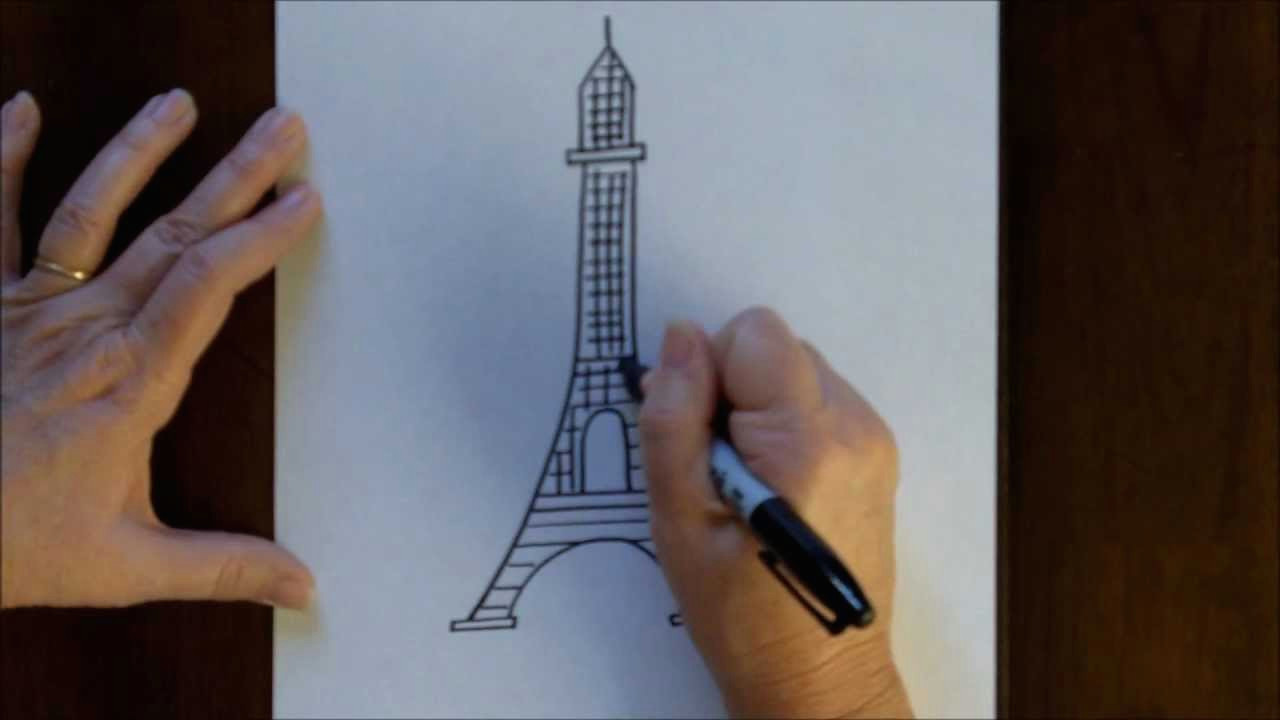 free drawing lesson how to draw the eiffel tower easy simple drawing tutorial paris france youtube