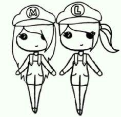 mario and luigi chibis do cute easy people drawings easy drawings bff drawings
