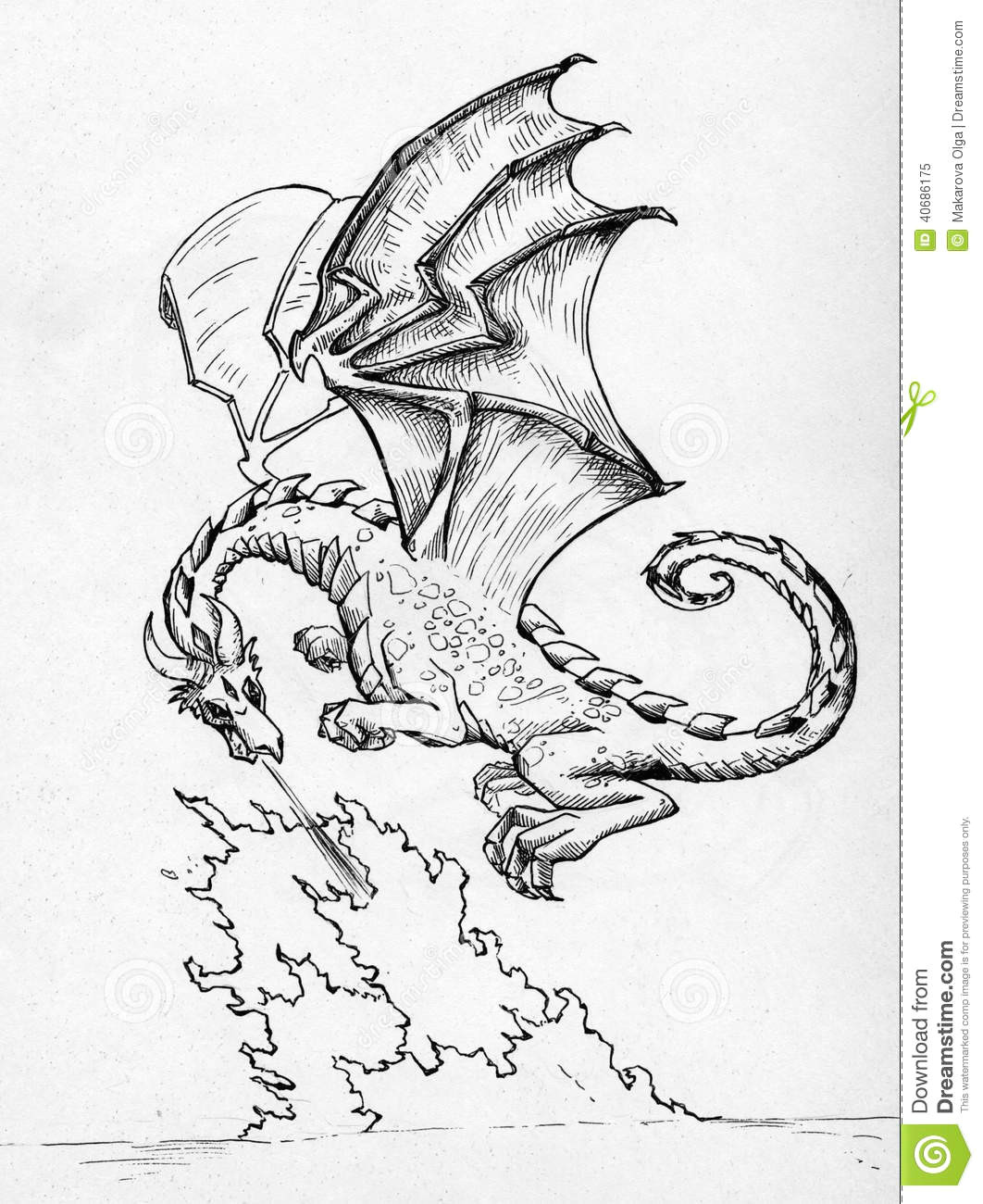 Easy Drawings Of Dragons Breathing Fire Dragon Breathing Fire Stock Illustration Illustration Of