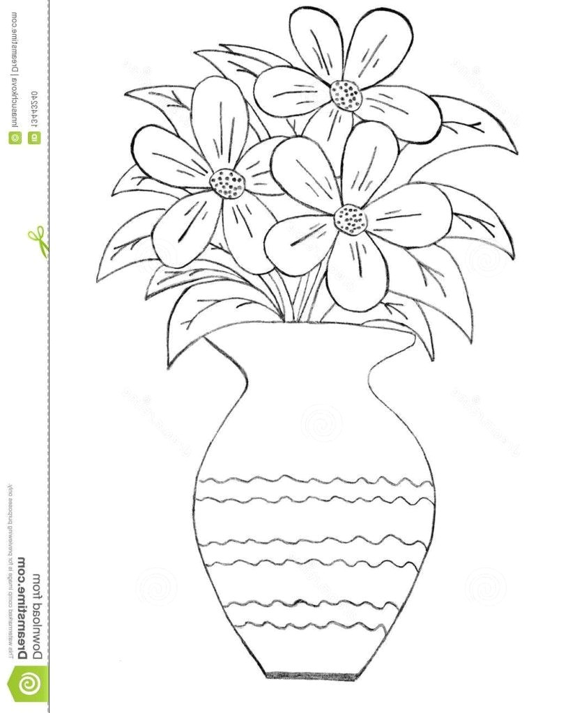 Easy Drawings Of Flower Pot How to Draw A Beautiful Flower Vase Pictures for Kids to Draw