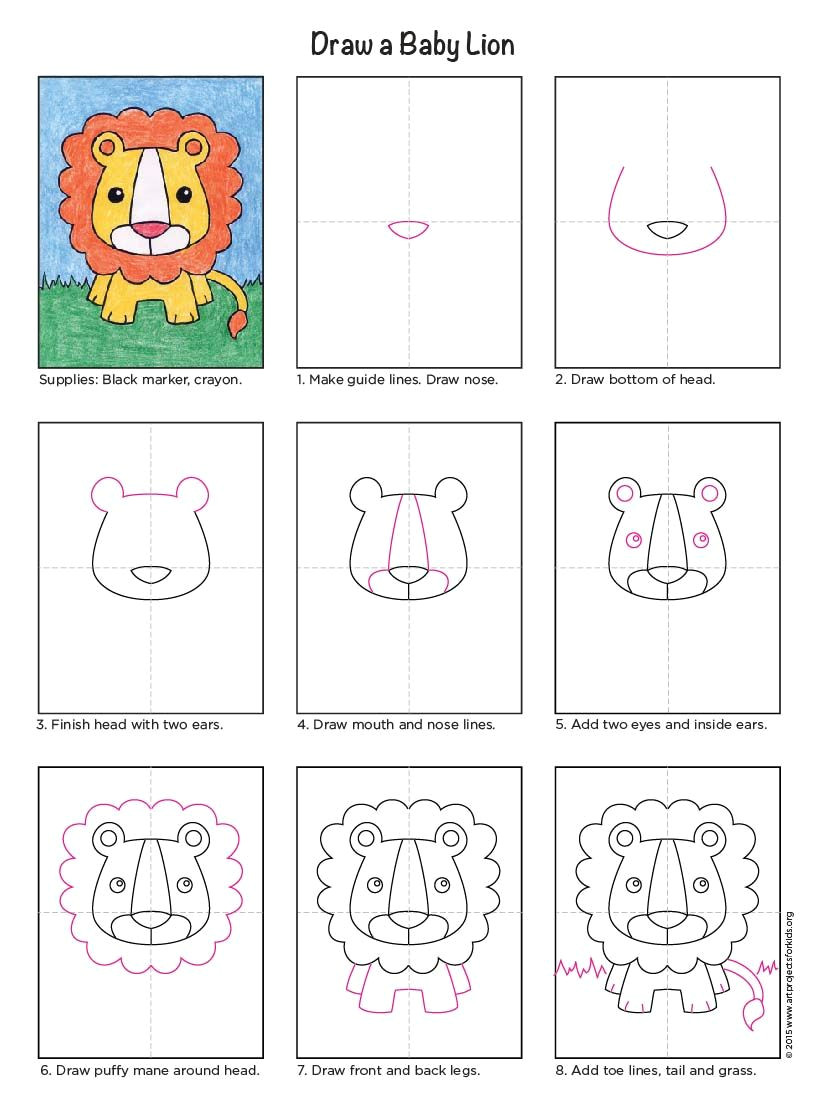 draw a baby lion art drawings for kids cartoon drawings cartoon drawing for kids