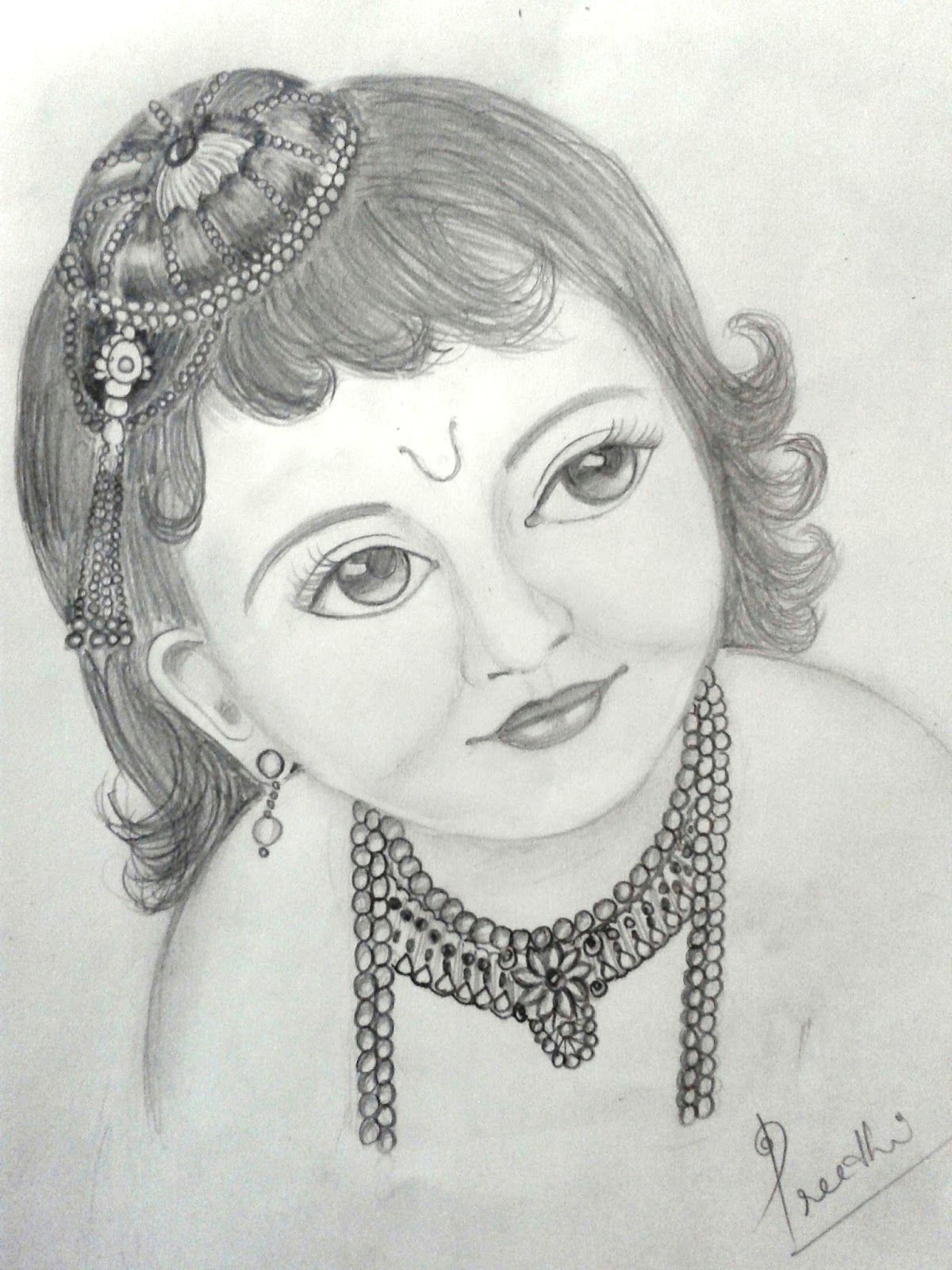 easy pencil drawings of faces a pencil sketch of little krishna pinterest of easy pencil drawings