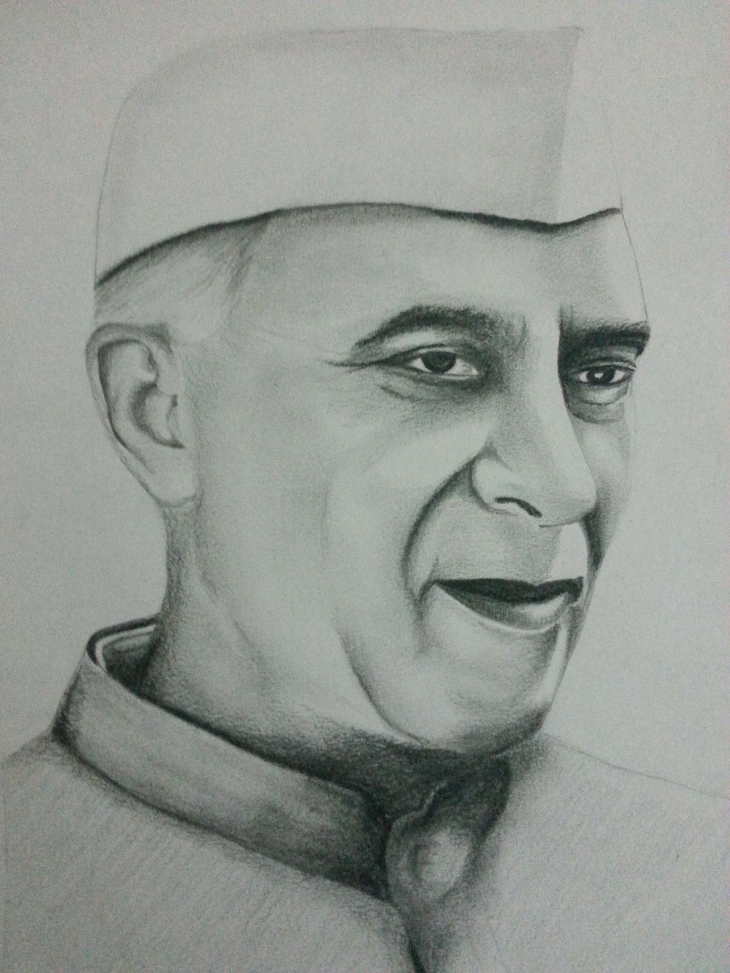 easy pencil drawings of faces drawing of jawaharlal nehru using pencils visit and subscribe our of