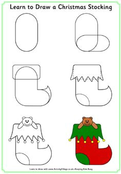 learn to draw a christmas stocking christmas pictures to draw easy christmas drawings xmas