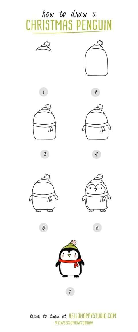 draw a penguin christmas sketch easy christmas drawings christmas bells drawing christmas decorations