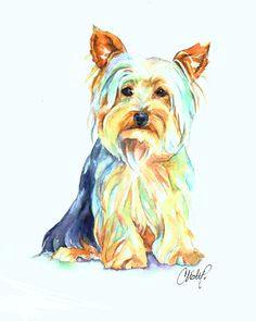 yorkie dog portrait by christy freeman stark