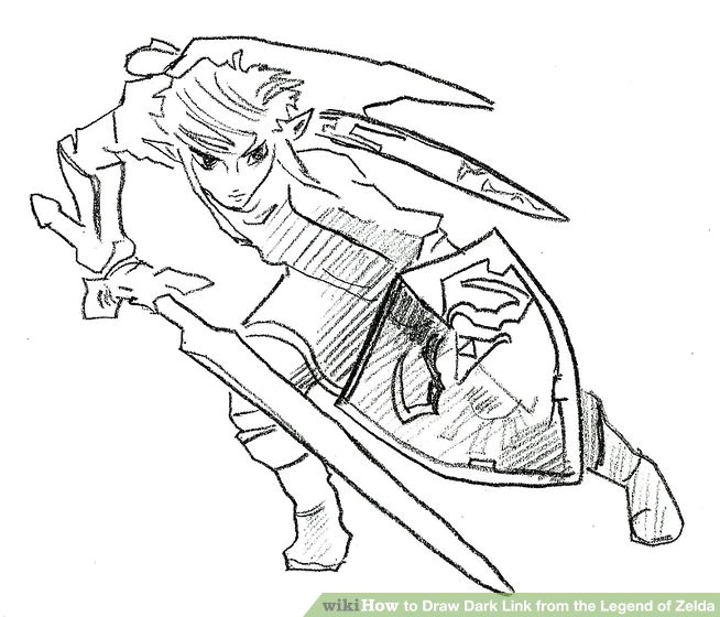 how to draw dark link from the legend of zelda 8 steps
