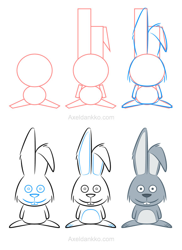 how to draw a rabbit comment dessiner un lapin easy cartoon drawings animal drawings