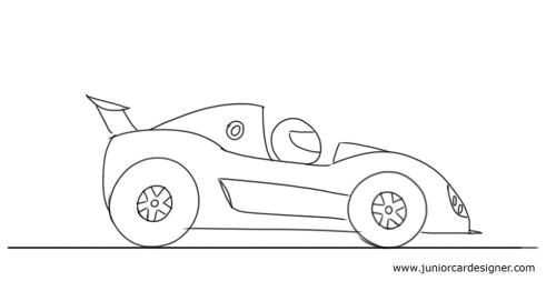 draw a cartoon race car