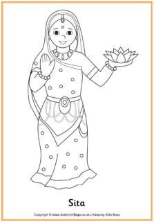 sita colouring page diwali for kids diwali craft diwali eyfs india for kids