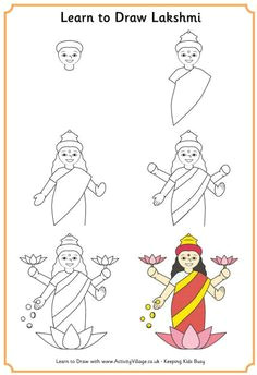 learn to draw lakshmi hindu goddess of prosperity diwali drawing ganesha drawing diwali