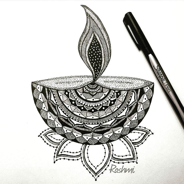 countdown to diwali repost mandala inspired deepa a diya or deepa is an oil lamp usually made from clay with a cotton wick dipped in ghee or oil