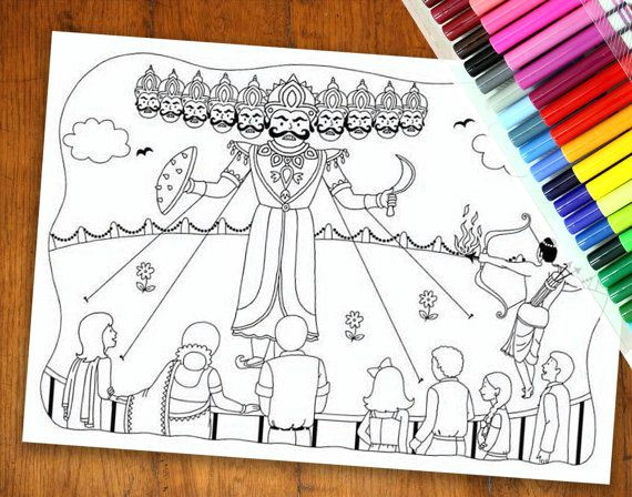 dussehra colouring page diwali colouring page by yellowdoodleshop