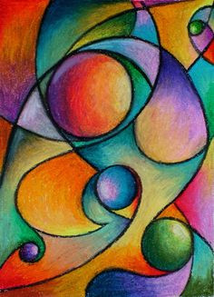 dynamic shape composition with colour gradient fills in oil pastels or grade intro to shape color and composition as well as oil pastels