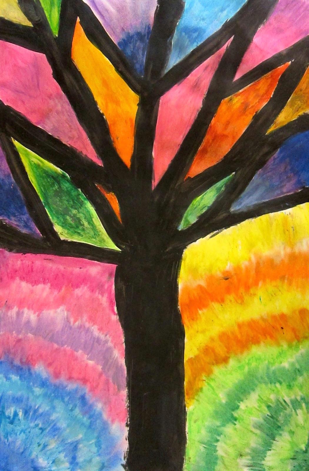 art is basic art teacher blog abstract oil pastel trees 4th 5th grade