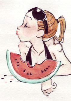 comiendo sandia en dia de calor watermelon illustration illustration girl character illustration art