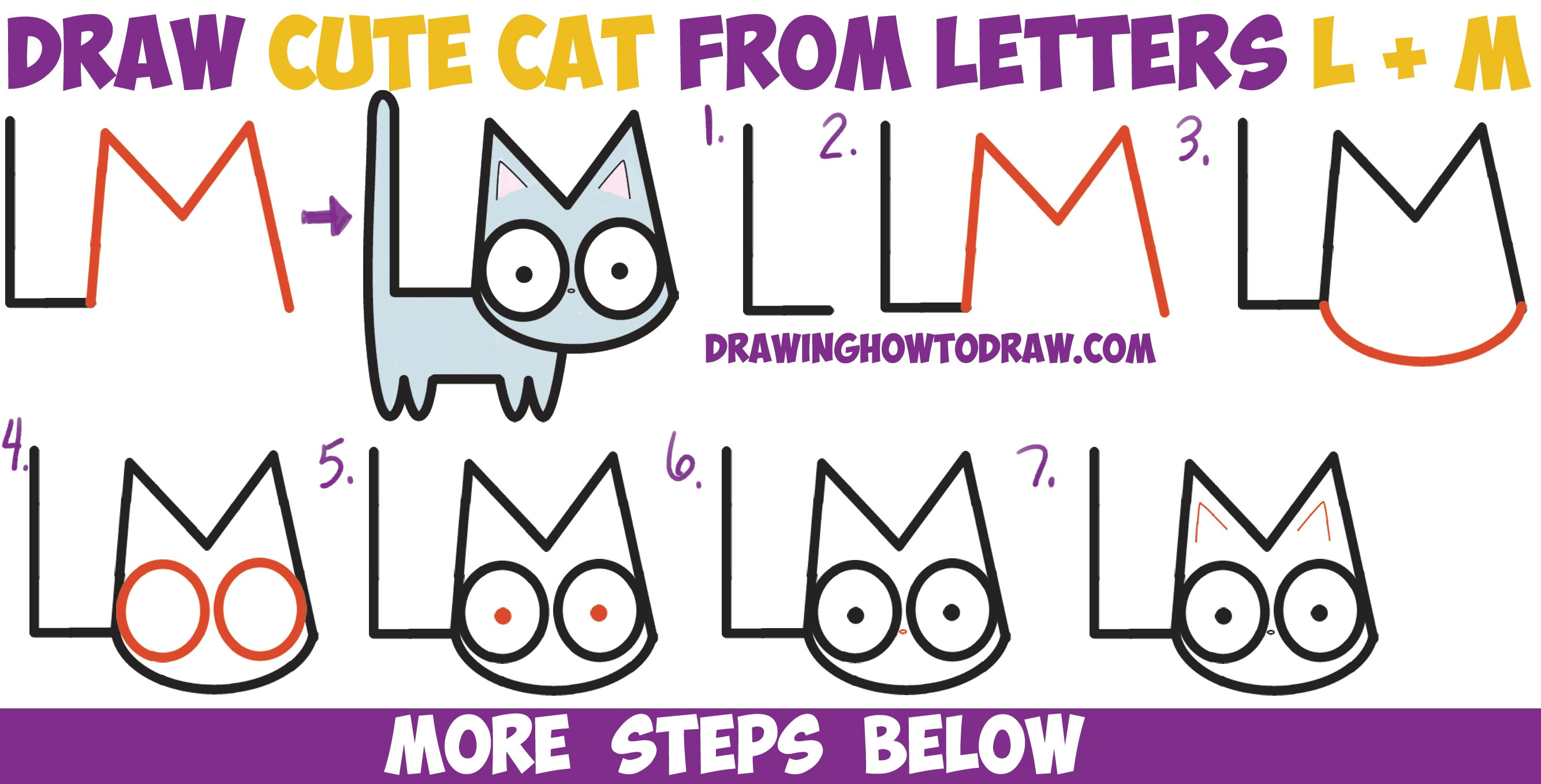 how to draw a cute cartoon kitten from letters l m easy step by step drawing tutorial for kids