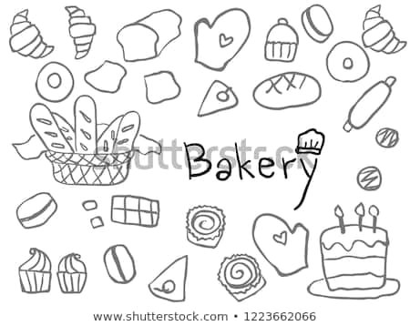 cute simple childish hand drawn bakery line art element for background wallpaper texture