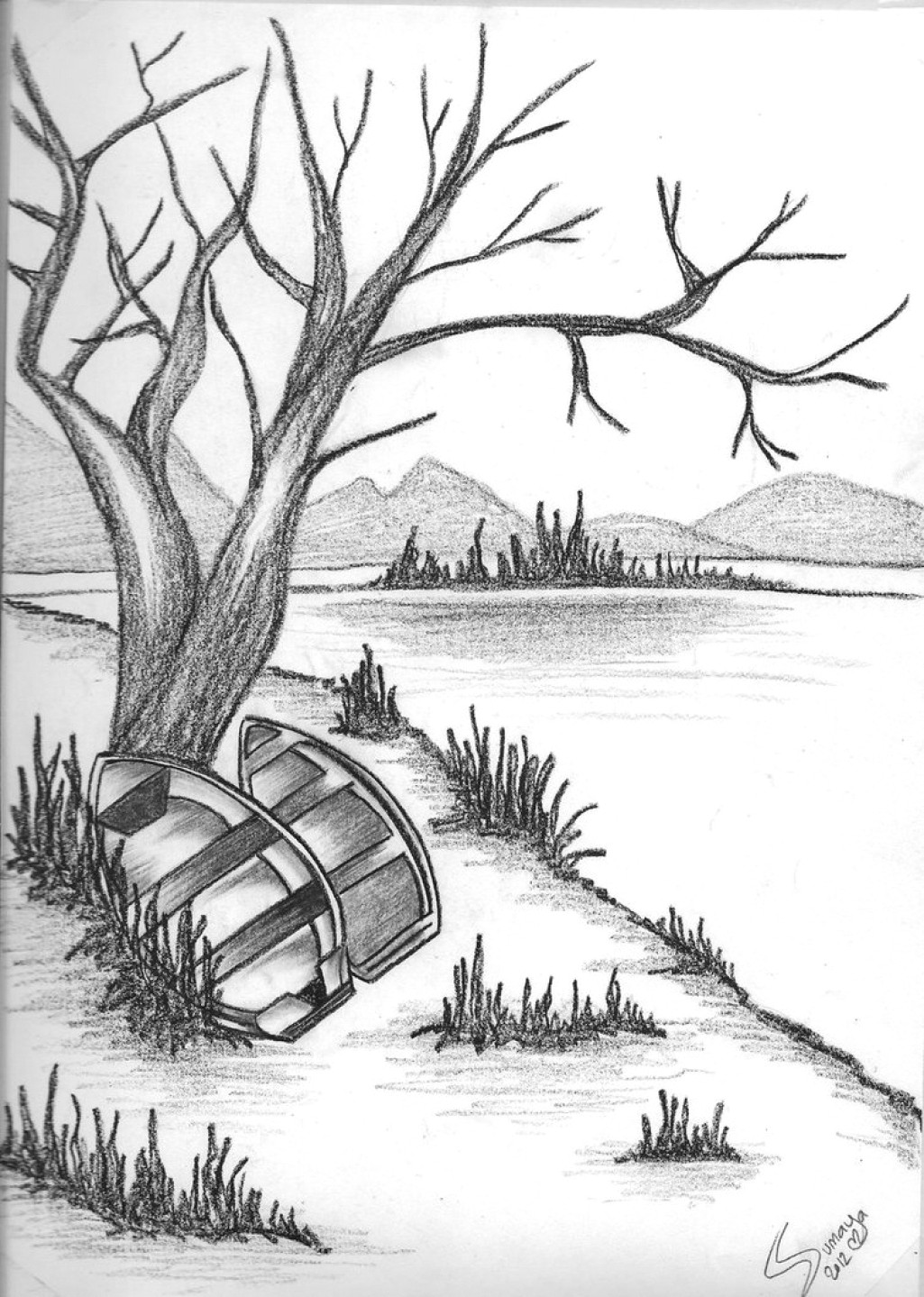 1025x1439 nature drawings easy village nature scenery drawingeasy tutorial nature sketch for kids