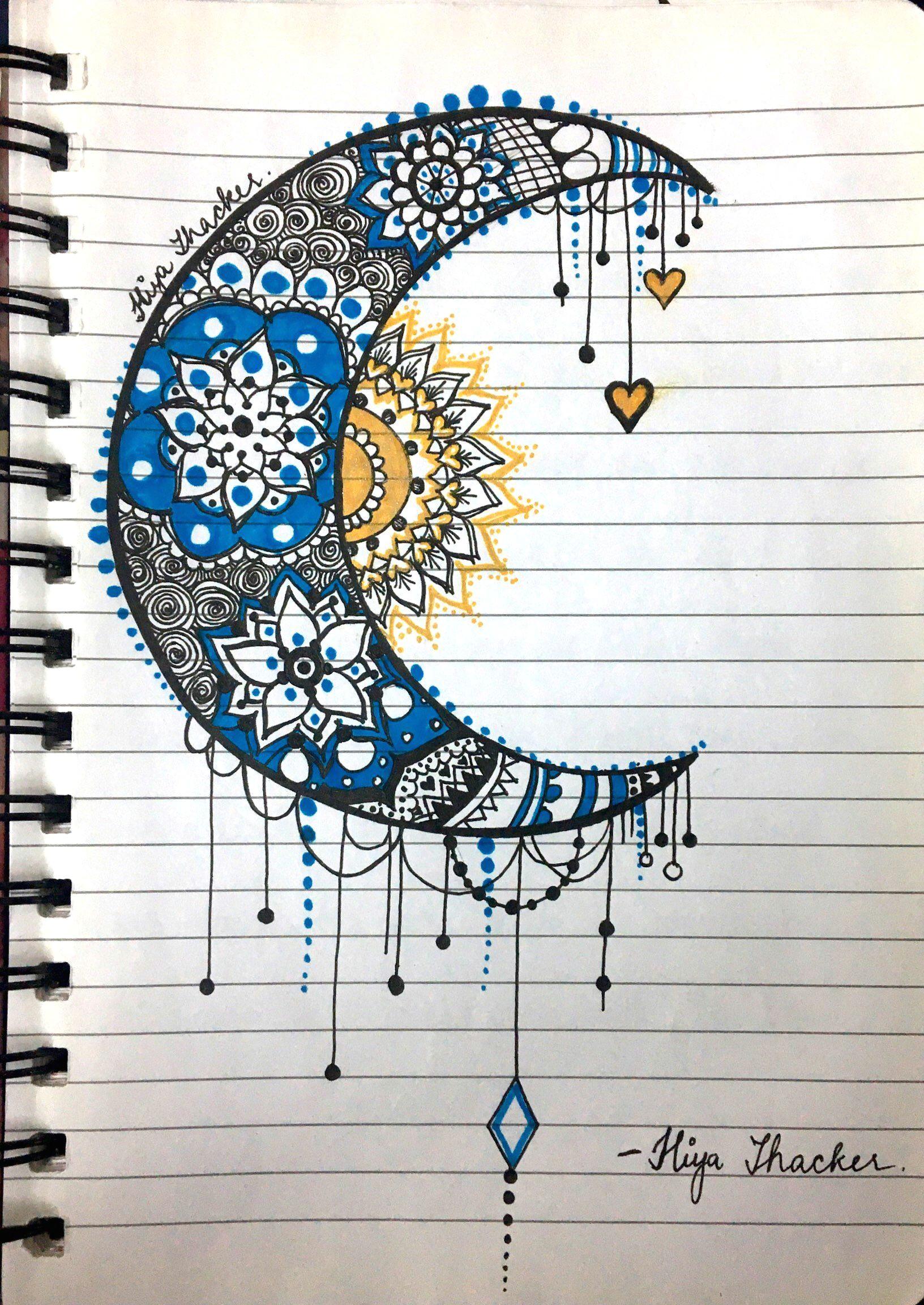 moon sun mandala zentangle blue yellow doodle images easy drawings doodle drawings sun