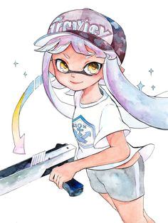 domino mask dutch angle hat highres holding weapon inkling long hair looking at viewer mask n zap splatoon pink hair shirt short sleeves simple