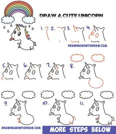 how to draw a cute kawaii unicorn with tongue out under rainbow easy step by step drawing tutorial for kids