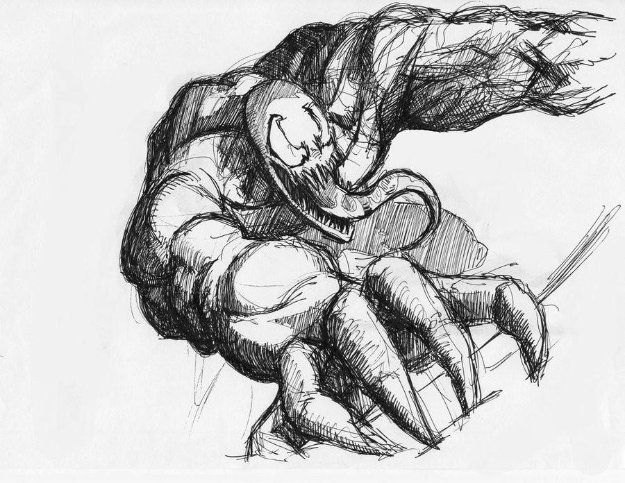 venom drawing sketch 900x696