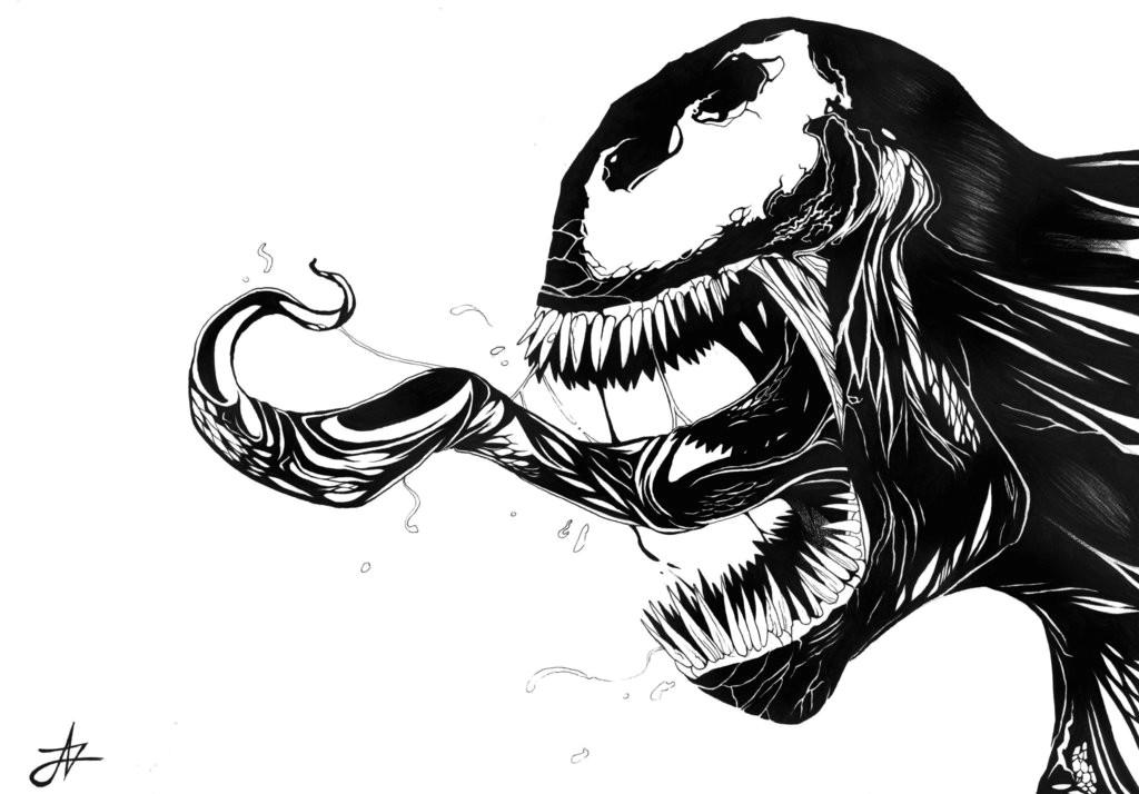 venom drawing black and white 1024x714