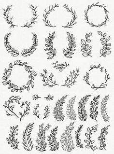 clip art whimsical laurels wreaths par thepenandbrush sur etsy