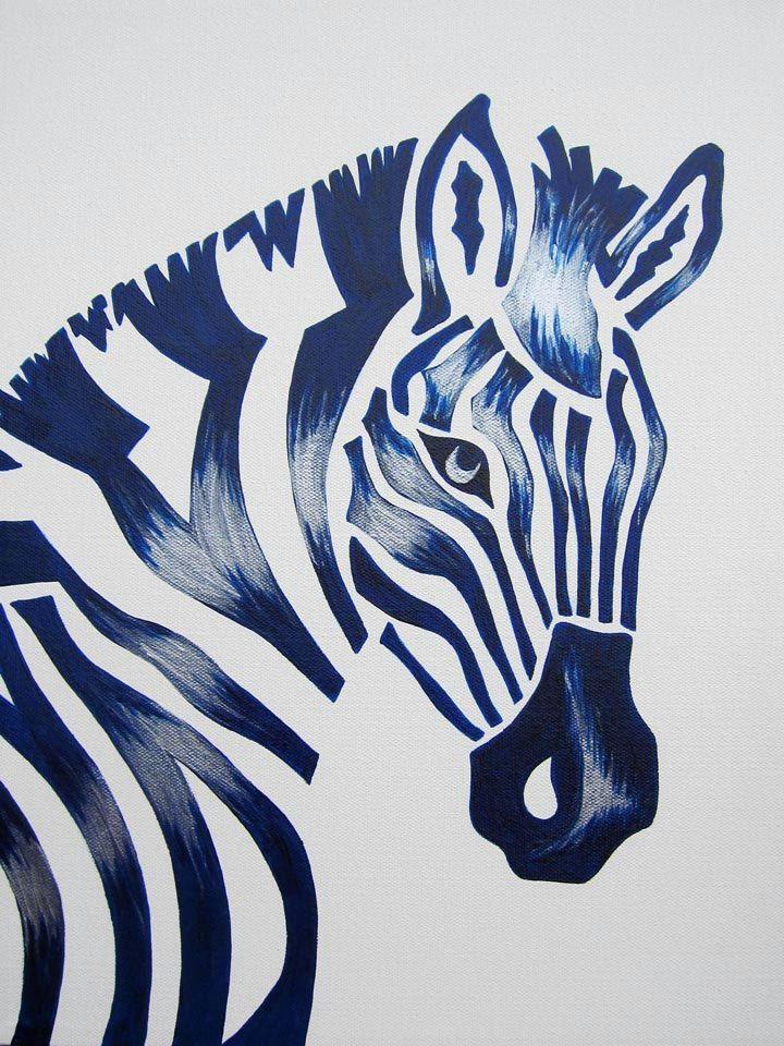 blue zebra safari nursery art zoo animal jungle theme kids baby room decor painting not a print