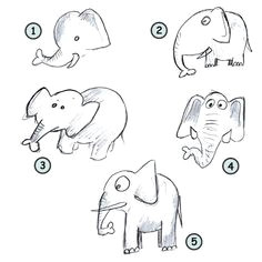 drawing cartoon elephants