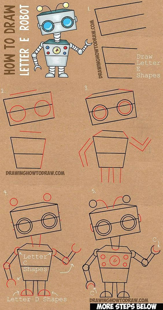 learn how to draw cartoon robots from letter e shape with simple steps lesson for kids