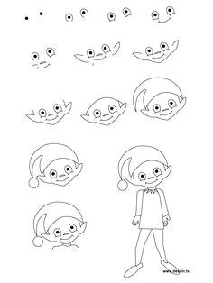bilderesultat for simple santa claus drawing step by step