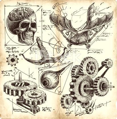 antique engineering drawings in leonardo da vinci style
