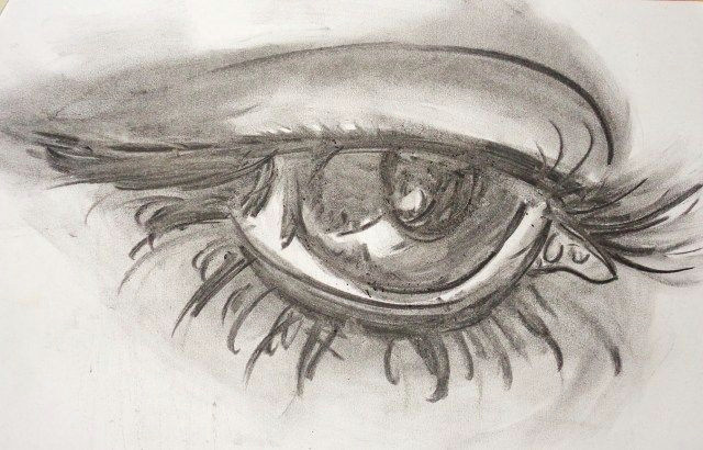 charcoal painting for beginners drawing an eye using pencils and charcoal drawing techniques