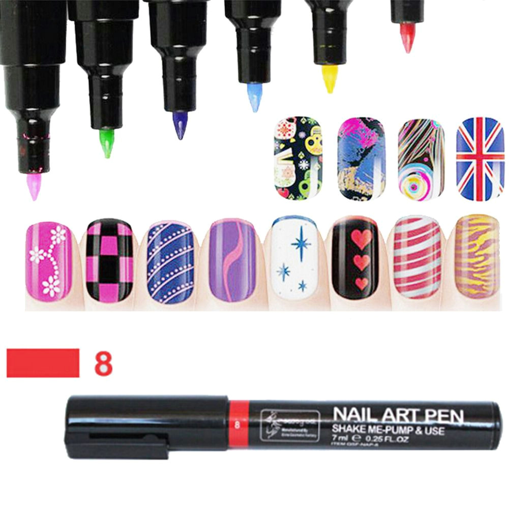 16 colors nail art pen painting design tool dot drawing uv gel polish manicure