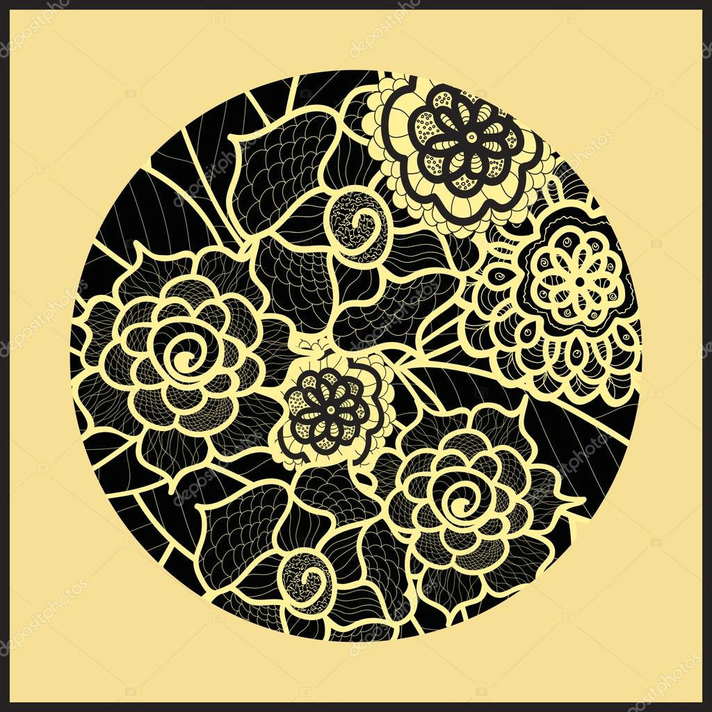 circle background ornamental decorative drawing vector artwork black and yellow illustration summer flower ornament round lace design floral mandala