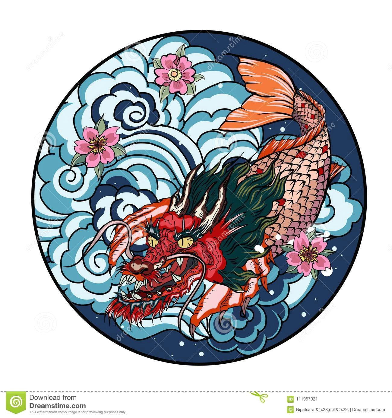 tattoo design koi dragon with cherry blossom and wave in circle koi fish in water circle with sakura flower japanese dragon carp line drawing coloring book