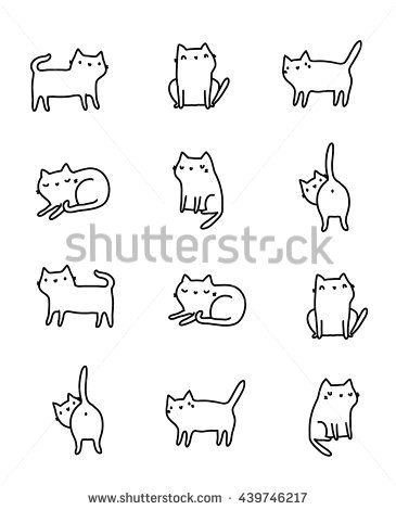 funny hand drawn cats animals vector illustration with adorable kittens