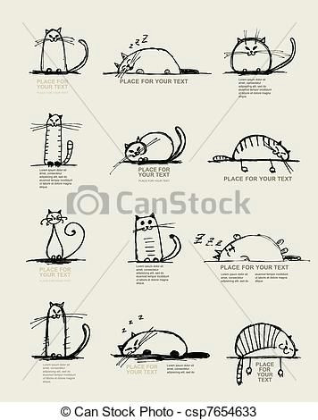 vector funny cats sketch design with place for your text stock illustration royalty free illustrations stock clip art icon stock clipart icons