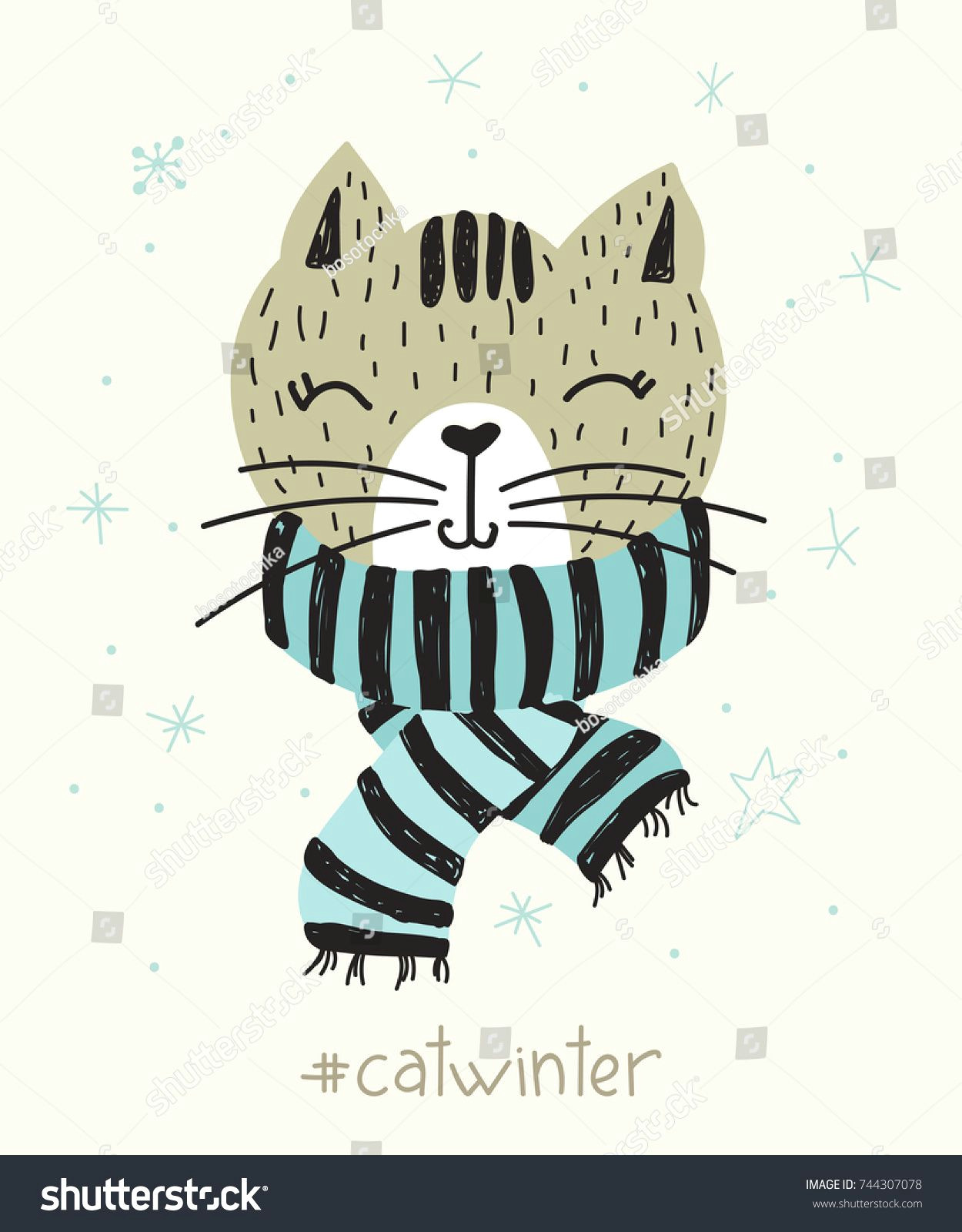 vector poster with hand drawn funny cat vector illustration for card or poster print on clothes new year s and christmas