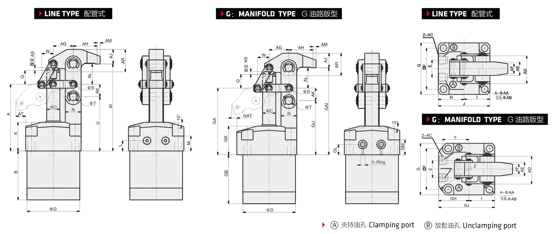 G Clamp Drawing Hydraulische Hebelspanner Clf5h Clka Lhc01 Clamptek Spanner