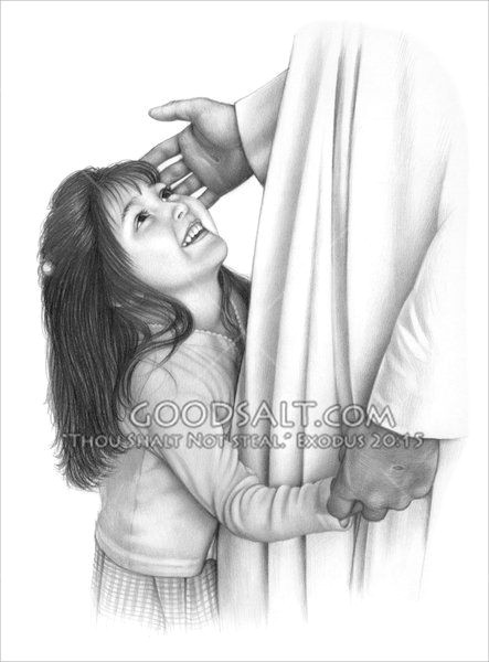 a little girl gives jesus a hug and holds his hand