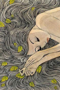 girl sleeping with leaves in her hair drawing art arte anime daydream art inspo