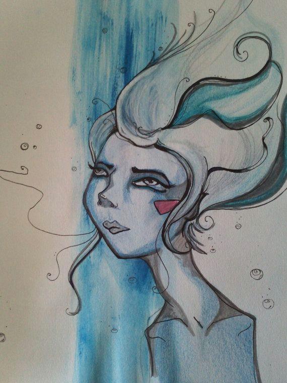 paint and ink girl underwater blue dream original by nightnight 22 00