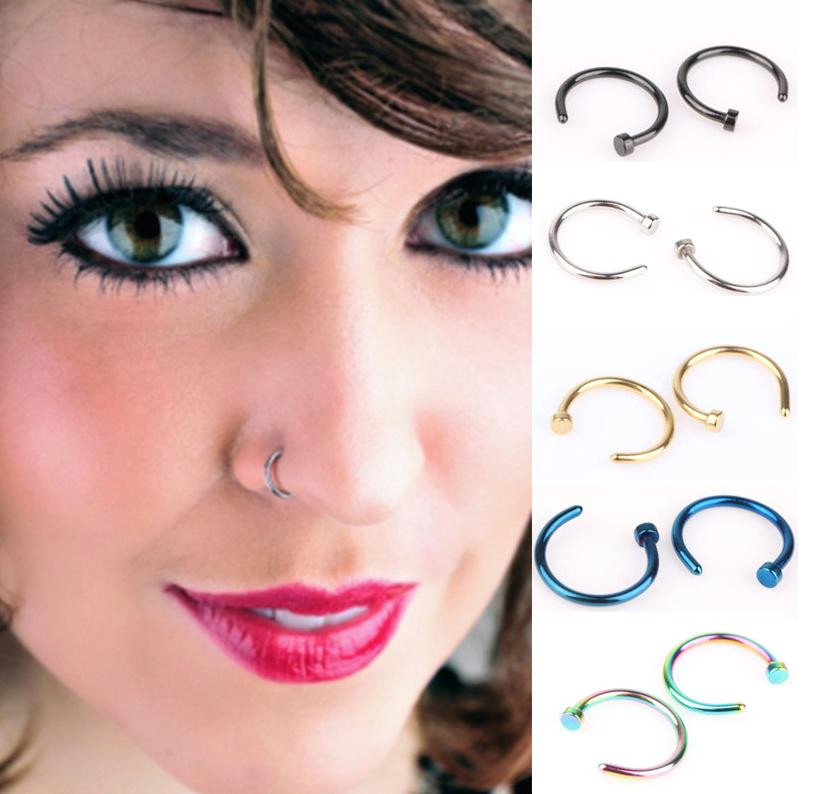 2019 nose rings body art piercing jewelry fashion jewelry stainless steel nose open hoop ring earring studs fake nose ring non piercing rings from